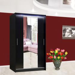 Wardrobe Atago 4S with sliding doors, mirror and optional LED Lights (120cm)