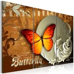 Canvas Print  Fiery butterfly and  full moon