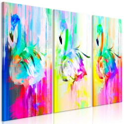 Canvas Print  Colourful Flamingos (3 Parts)