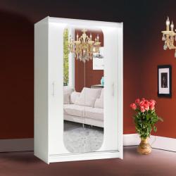 Wardrobe Atago 11S with sliding doors, mirror and optional LED Lights (120cm)