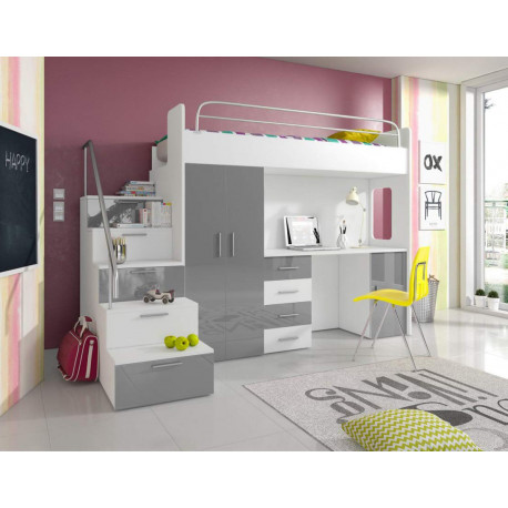 Awesome high sleeper Alta 4SK with bed, wardrobe, desk, stairs and high gloss inserts