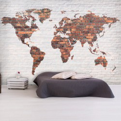 Wallpaper  World Map Brick Wall