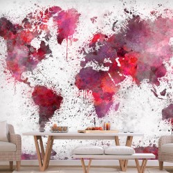 Wallpaper  World Map Red Watercolors