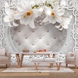 Wallpaper  Lilies and Quilted Background