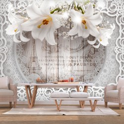 Wallpaper  Lilies and Wooden Background