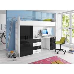 High sleeper Alta 4DK with bed, wardrobe, desk and high gloss inserts