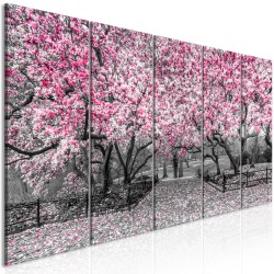 Canvas Print  Magnolia Park (5 Parts) Narrow Pink