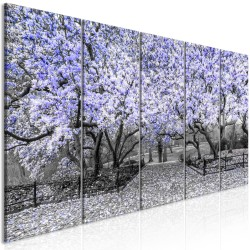Canvas Print  Magnolia Park (5 Parts) Narrow Violet