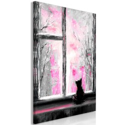 Canvas Print  Longing Kitty (1 Part) Vertical Pink