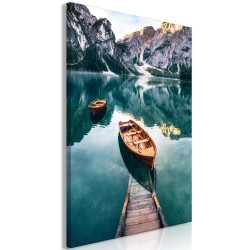 Canvas Print  Boats In Dolomites (1 Part) Vertical