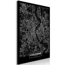 Canvas Print  Dark Map of Cologne (1 Part) Vertical