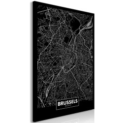 Canvas Print  Dark Map of Brussels (1 Part) Vertical