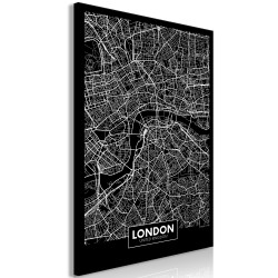 Canvas Print  Dark Map of London (1 Part) Vertical