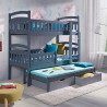 Wooden triple bunk bed Dom III with mattresses and 2 drawers - 25 colours of frame and inserts