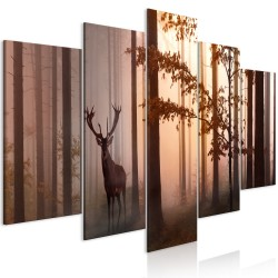 Canvas Print  Morning (5 Parts) Wide Brown