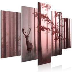 Canvas Print  Morning (5 Parts) Wide Pink