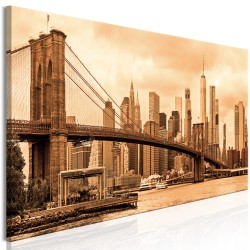 Canvas Print  Road to Manhattan (1 Part) Narrow Sepia