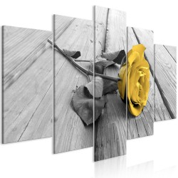 Canvas Print  Rose on Wood (5 Parts) Wide Yellow