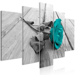 Canvas Print  Rose on Wood (5 Parts) Wide Turquoise