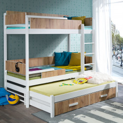 Wooden bunk bed Quatro 3 with mattresses and 2 drawers - 25 colours of frame and 10 of inserts