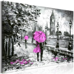 Canvas Print  Walk in London (1 Part) Wide Pink