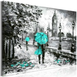 Canvas Print  Walk in London (1 Part) Wide Turquoise