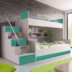 Modern bunk bed Alta 2K with stairs, shelves, many storages and high gloss inserts