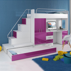 Lovely high sleeper Alta 5S with bed, trundle bad, wardrobe, desk, stairs and high gloss inserts