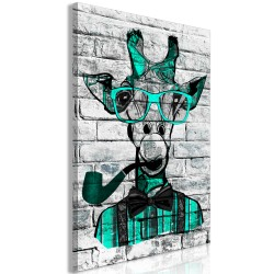 Canvas Print  Giraffe with Pipe (1 Part) Vertical Green