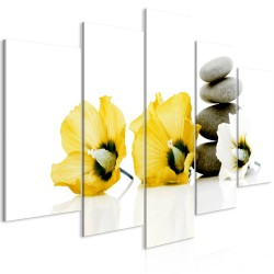 Canvas Print  Calm Mallow (5 Parts) Wide Yellow