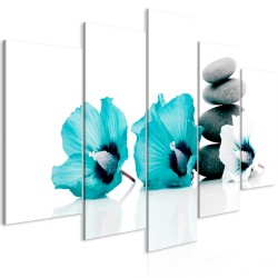 Canvas Print  Calm Mallow (5 Parts) Wide Turquoise