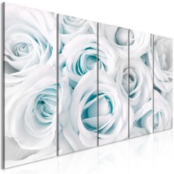 Canvas Print  Satin Rose (5 Parts) Narrow Turquoise