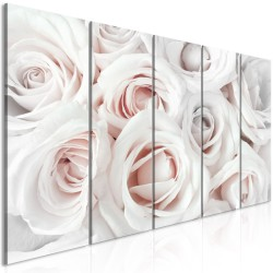 Canvas Print  Satin Rose (5 Parts) Narrow Pink