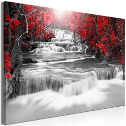 Canvas Print  Cascade of Thoughts (1 Part) Wide Red