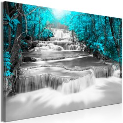 Canvas Print  Cascade of Thoughts (1 Part) Wide Turquoise