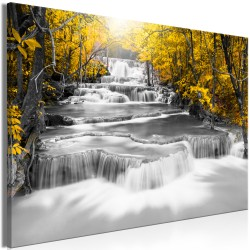 Canvas Print  Cascade of Thoughts (1 Part) Wide Yellow