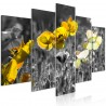 Canvas Print - Yellow Poppies (5 Parts) Wide