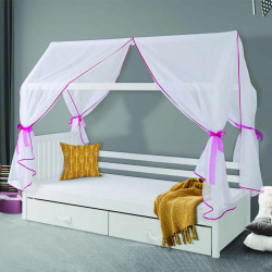 Single bed Rowena M with canopy, mattress and 2 drawers