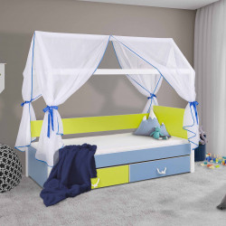 Single bed Opal M with canopy, mattress and 2 drawers