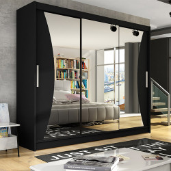 Wardrobe with sliding doors, mirror and optional LED Lights (250cm)