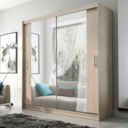 Elegant Wardrobe Amigo 4aa with sliding doors, rail and mirrors (180cm)