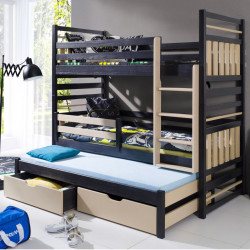 Wooden triple bunk bed with mattresses and 2 drawers - 25 colours of frame and inserts