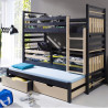 Wooden triple bunk bed Hippo M with mattresses and 2 drawers - 24 colours of frame and inserts