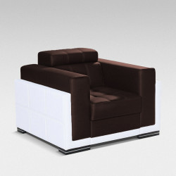 Armchair Bari with adjustable headrest, Brown plush and White faux leather FAST DELIVERY