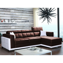 Corner sofa bed Bari 1, faux leather, 272cm 8'11''