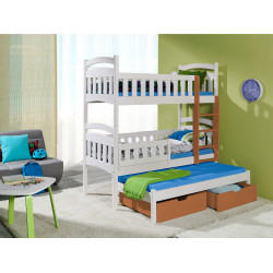 Wooden triple bunk bed Dom III M with mattresses and 2 drawers - FAST DELIVERY