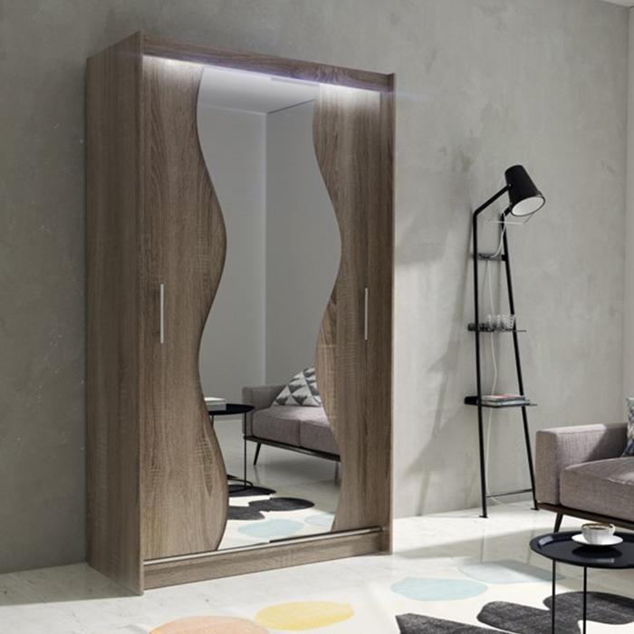 Wardrobe Hanging Rail Sliding Doors Mirror Shelf LED ...
